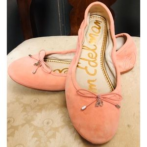 Sam Edelman light peach/pink suede ballet flats